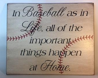 Baseball/Softball as in Life, all of the important things happen at Home sign