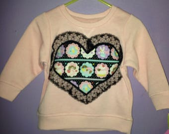 Candy girl lace heart sweater