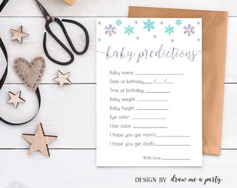 Winter Baby Shower Predictions , Predictions For Baby , Winter Baby Stats Game , Mint Lavender Baby Shower Game , Printable , DIY