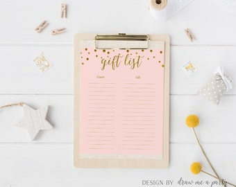 Pink and Gold Guest List Printable , Gift List , Pink Baby Shower or Bridal Shower , Guest Sign In Sheet , Instant Download
