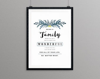 Being a Part of a Family / Unconditional Family Love 8x10 Wall Art - Instant Digital Download Printable - Original Digital Art / Custom