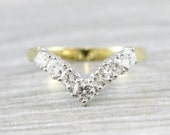 Wishbone diamond wedding engagement ring in 18 carat gold stunning ring vintage antique for her UK