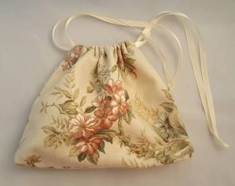 Floral upholstery fabric,  double drawstring bag