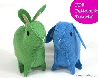 Felt Rabbit Pattern, Bunny Sewing Pattern, Felt animal pattern, Easter basket gift, handmade toy for children, Home decor, PDF DIY