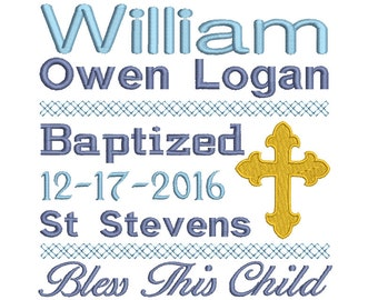 Baptism Template Embroidery, Subway Art Baptism Template Machine Embroidery, Religious Cross Embroidery Design no: ST510-1