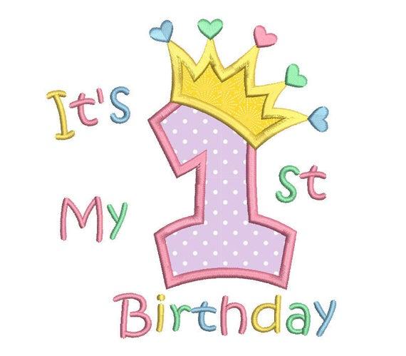 St birthday applique machine embroidery design princess