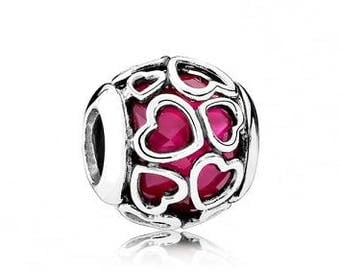 Sterling Silver Cerise Incased In Love Charm