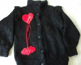 REDUCED - Vintage girls lined knitted black cardigan / jacket (04393)