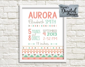 PRINTABLE - Birth Stats Wall Art / Nursery / Birth Announcement / Details / Newborn / Personalized Baby Gift Keepsake / Aztec / JPEG file