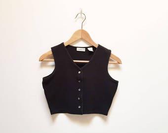 Weathervane Black Sleeveless Jersey Crop Top