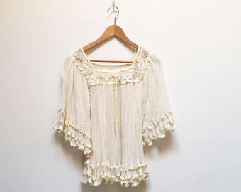 Cream Gauze Ruffled Peasant Blouse
