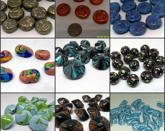 Polymer Clay Beads, Large Assortment, Lentil Beads, Tube Beads, Round Beads, Jewelry Making Supplies