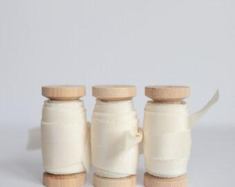 Silk Ribbon IVORY Plant based, Hand dyed silk wedding ribbons