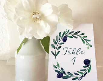 Tuscan Romance - A5 Table Numbers 1 to 30 - DIY Wedding & Printable