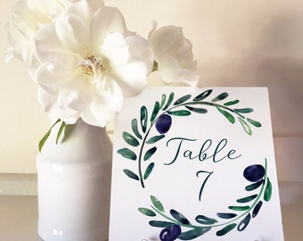 Tuscan Romance - Table Numbers 1 to 50 Square - DIY Wedding & Printable