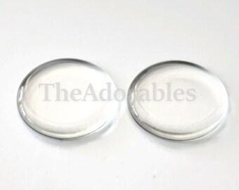 10pcs--Clear, Round, Flat, Glass Cabochons, 25x4mm (B65-1)