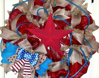 Summer wreath, Patriotic Wreath, America Wreath, Military wreath, July 4th wreath, Star wreath, USA wreath