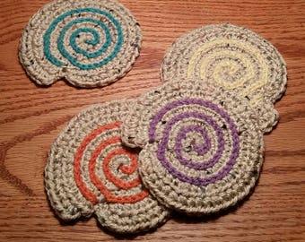 Handmade Coasters, Home Decor, Crochet Coasters, Beach Coasters, Sea Shell Coasters, Summer Decor, Yarn Coasters, Coaster Set, Beach Decor