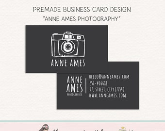 camera business card design photography business card premade business card calling card social card mommy calling card thank you card
