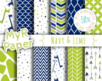 """Giraffe digital paper: """"Navy & Lime"""" giraffes pack of backgrounds with papers - zig zag, chevron, moroccan, arrow, scallop"""