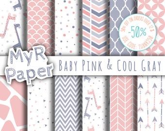"Giraffe digital paper: ""Baby Pink & Cool Gray"" giraffes pack of backgrounds with papers - perfect for Baby Shower"