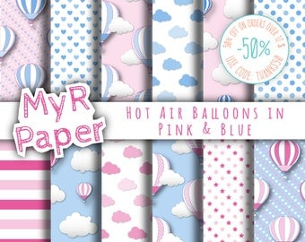 """Hot Air Balloons Digital Paper: """"Pink & Blue"""" patterns for scrapbooking, invite, card – perfect for vintage project and baby shower"""