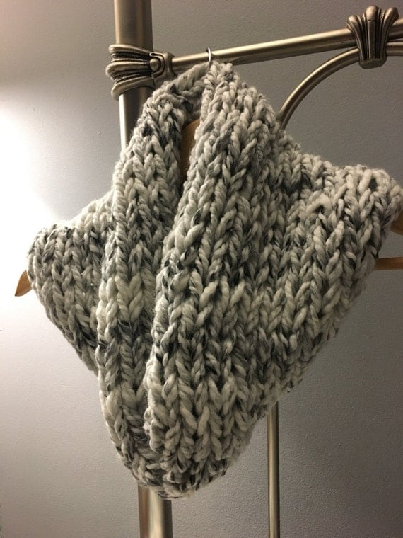 Chunky knit cowl, knit scarf, chunky womens knit scarf, grey scarf, cream colored scarf, oversized knit cowl, womens scarf