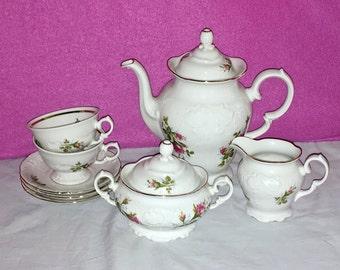 Vintage Royal Kent Poland Porcelain Collection Teapot Sugar Creamer Saucers Cups