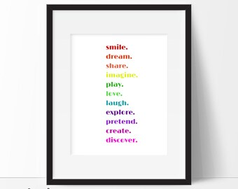 Playroom Print, Rainbow Art Print, Playroom Art, Playroom Wall Art, Playroom Rules, Kids Wall Art, Typography Print, Instant Download