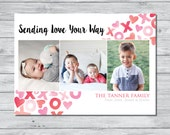 SALE// Watercolor Valentine's Day Photo Card, Valentine's Day Photo Card, Valentine's Card, Watercolor Card, Personalized Photo Card