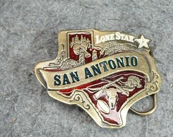Vintage The Great American Buckle Co. Belt Buckle Lone Star San Antonio C. 1982
