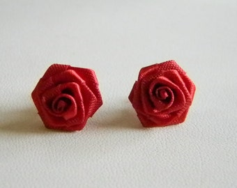 Red Silky Ribbon Rose Bud Post Pierced Earrings
