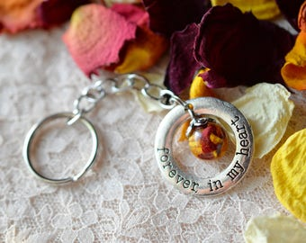 Memorial keychain, Forever in My Heart, funeral Flowers, Wedding Flowers, Pet Keepsake, Dried flowers, Bereavement Gift