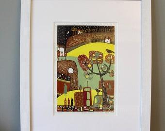 Linocut Print, Original Lino print, Art Prints, Home Décor, Gallery Wall, Wall Decor, Wall Art, Linocut, yellow, Printmaking, wedding gift