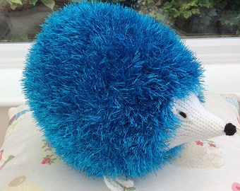 Knitted turquoise Tinsel Hedgehog  / knitted toy / soft plushie toy / wool hedgehog / knitted animals / woodland animals / tinsel yarn /
