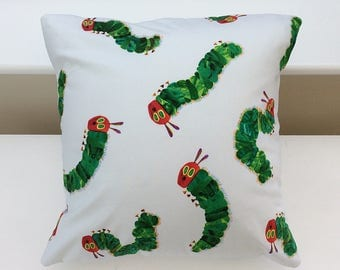 "Very hungry caterpillar cushion / 16"" envelope cushion cover with insert / children's cushions / 16"" cushion covers / square cushion covers"
