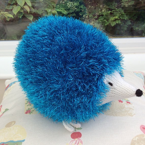 Tinsel Hedgehog Knitting Pattern : Knitted turquoise Tinsel Hedgehog / knitted toy / soft