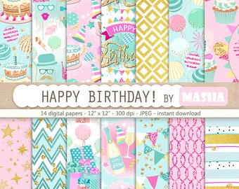 "Birthday digital paper: ""HAPPY BIRTHDAY"" with party digital paper, party pattern, birthday pattern, cake digital paper, balloon pattern"
