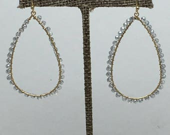 Light grey beaded earring