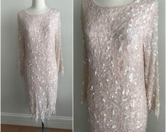 Vintage 1980s Romantic Ballet Pink Iridescent Sequins Trophy Midi Dress Beaded S M