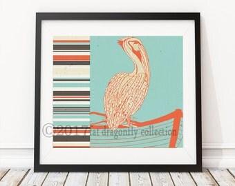 Nautical Pelican Print Pelican Poster Coastal Decor Ocean Pelican Wall Art Pelican
