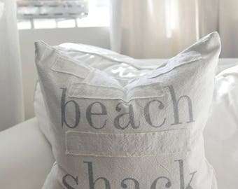 beach shack grain sack style pillow cover. comes in 16x16, 18x18, 20x20 or 16x26. patches optional.