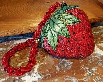Strawberry Novelty Handbag, Novelty Handbag, Strawberry Beaded Purse, Strawberry Novelty Minaudière, Designer Strawberry Handbag