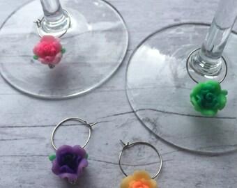 Wine charms, flower wine charms, feminine wine charms, colorful wine charms, set of 4 wine charms