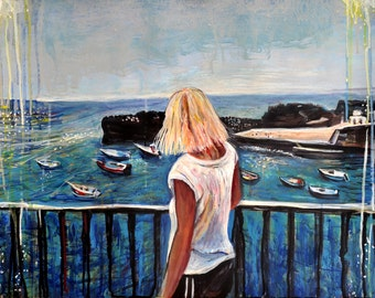 Seascape painting, Fishing boats Madeira, ORIGINAL acrylic ocean view painting, Portugal sea art, Madeira, contemporary art, Alex Solodov