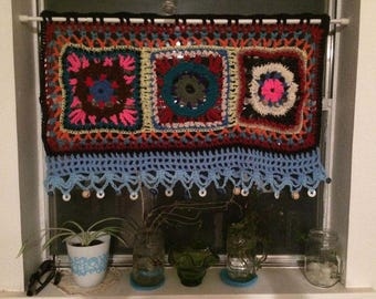 Boho curtain, Bohemian style, handmade crochet