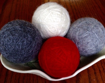 Felted Wool Dryer Balls, Set of 4 - Red, Dark Gray, Ivory and Light Gray