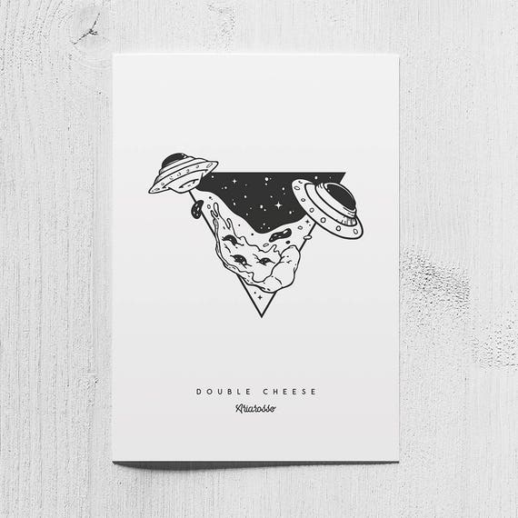 Poster Art Print - Double Cheese - Blackwork Series A5 Size - UFO Pizz...