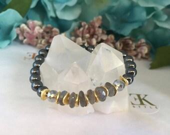Genuine Labradorite Bracelet, Stretch Bracelet, Stack Bracelet, Beaded Bracelet, Hematite Bracelet