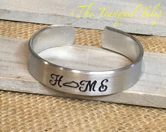 Kentucky Home Bracelet - State Pride Jewelry - Hand Stamped Cuff Bracelet